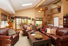 sloped ceiling recessed lighting for elegant living room with stair and leather sofa chair
