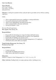 Example of Line Cook Resume resume line cook duties