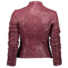 hugo boss orange janabelle slim fit leather jacket dark red