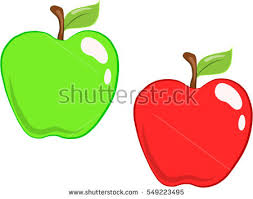green and red apple clipart. a set of juicy vector cartoon green and red apples apple clipart