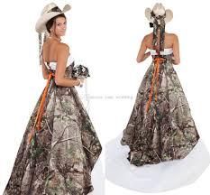 discount elegant strapless camo wedding dresses satin tulle corset