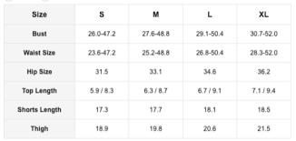Size Chart Glitter Biker Shorts Femfetti