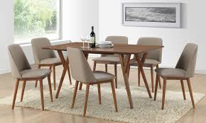 lavin 7 piece midcentury modern dark walnut finish wood dining set