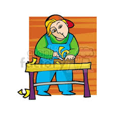 Royalty Free Carpenter Shaving Some Wood With A Planner Clipart