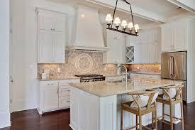 kitchen with hex tile backsplash