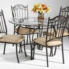 chintaly wrought iron round glass top dining table in antique taupe