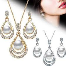 2Pcs/Set Fashion Jewelry Set Drop Necklace Earrings Bridal ... - Vova