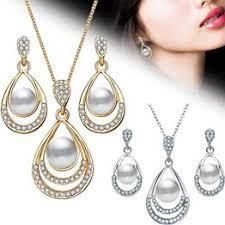 2Pcs/Set Fashion Jewelry Set Drop Necklace Earrings Bridal ... - Vova