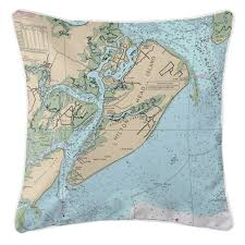 Nautical Chart Pillow Over 35 Locations In North South Carolina