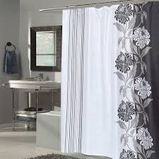 Beautiful Black And White Flower Motif Extra Long Fabric Shower
