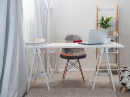 small modern home office furniture design with wood trestle desk