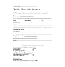 Wedding Photography Contract Form Simple Wedding Photography Contract Template Guest Address Book