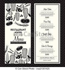 Restaurant Menus Layout Black And White Restaurant Menu Design Template Layout