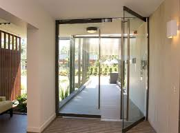 pivoting glass doors make for an easy entrance