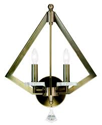 livex 50662 01 diamond contemporary antique brass wall lighting sconce loading zoom