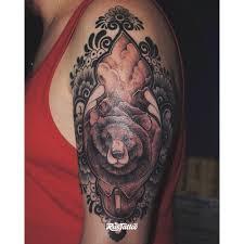 фото татуировки медведь в стиле авторский графика нео традишнл