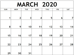 Month Of March Calendar 2020 Blank 2020 March Calendar Free August 2019 Calendar