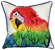 Betsy Drake Parrot Head Indoor Outdoor Pillow Beach Style
