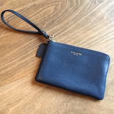 Coach Small Wristlet Leather Blue