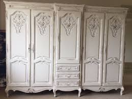 white wood wardrobe armoire shabby chic bedroom. French Antique Oak Five Door Wardrobe Armoire Vintage Cream White Shabby Chic Wooden 5 Sturdy Wood Bedroom F