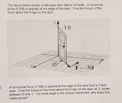 Half open door drawing Creepy Question The Figure Below Shows Halfopen Door That Is Ft Wide Horizontal Force Of 30lb Is Applied Chegg Solved The Figure Below Shows Halfopen Door That Is