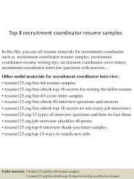 College Recruiter Sample Resume Stunning Top 44 Recruitment Coordinator Resume Samples