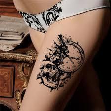2ks Falešné Dočasné Tetování Samolepka Lebka Hodiny Dočasné Tetování Samolepka Falešný Vodotěsné Body Art Dočasné Tetování At Vova