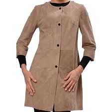 front ons suede leather coat for women s