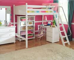 Kids Girl Room In Pink White Palette Theme Present Full Size Loft  With  Regard To