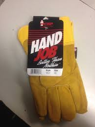 Hand job in gloves