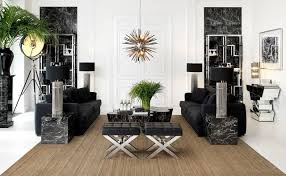 black and white modern living room with