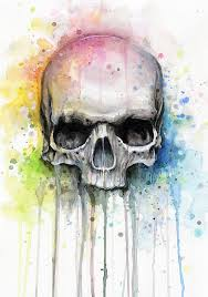 skull painting skull watercolor painting by olga shvartsur
