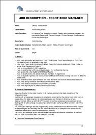 Cool Front Office Manager Resume Format In Hotel Front O Rs Geer Books