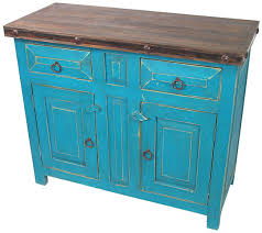 painted mexican furnitureMexican Painted Wood Buffet Cabinet  Turquoise with Iron Accents