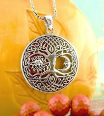 celtic knot tree of life with sun and moon necklace sterling silver pagan wh230