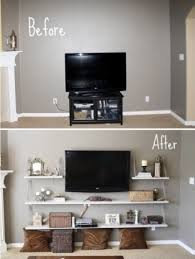 before and after diy cool remodel tv stands with floating wood display furniture storage ideas