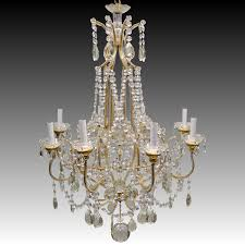 vintage italian gilded macaroni beaded crystal prism chandelier for roll over large image to magnify