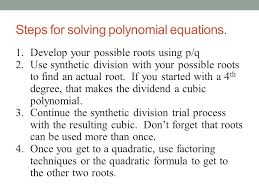 steps for solving polynomial equations