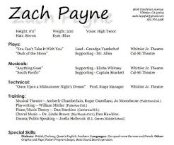 Resume Examples, Zach Payne Resume Templates For Kids Child Theater Sample  Child Acting Resume No