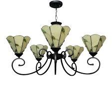 31 inch wide green leaf theme 5 light tiffany chandelier ceiling light