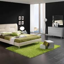 Modern Bedroom Colours Green Carpet With White Extra High Headboard For Modern Bedroom