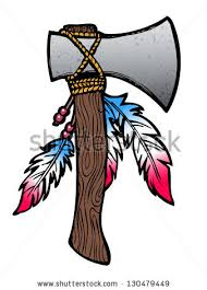 hatchet axe drawing with feathers and beads