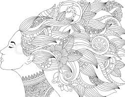 vector hand drawn ilration woman with fl hair for coloring book freehand sketch for anti stress coloring book page with doodle and