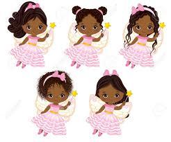 かわいい小さなアフリカ系アメリカ人妖精飛んでさまざまなヘアスタイル