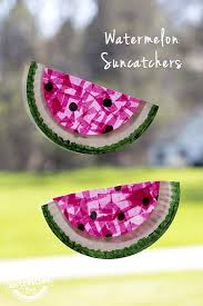 art and craft ideas for toddlers pinterest. paper plate watermelon suncatchers. toddler summer craftspreschool art and craft ideas for toddlers pinterest f