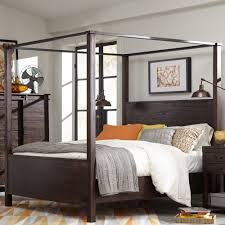 pine hill wood canopy bed in rustic pine