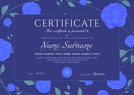 Certificate Of Completion Template With Flowers Blue Roses And Green ...