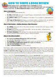 worksheet how to write a book review english worksheet how to write a book review