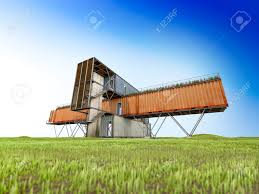 container office building. 3Ds Render Of Container Office Building, Black And White ,Blue Sky Stock Photo - Building