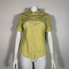 Details About Paul Smith Top Blouse Cotton Stripes Yellow White Women Sz 40 2 4